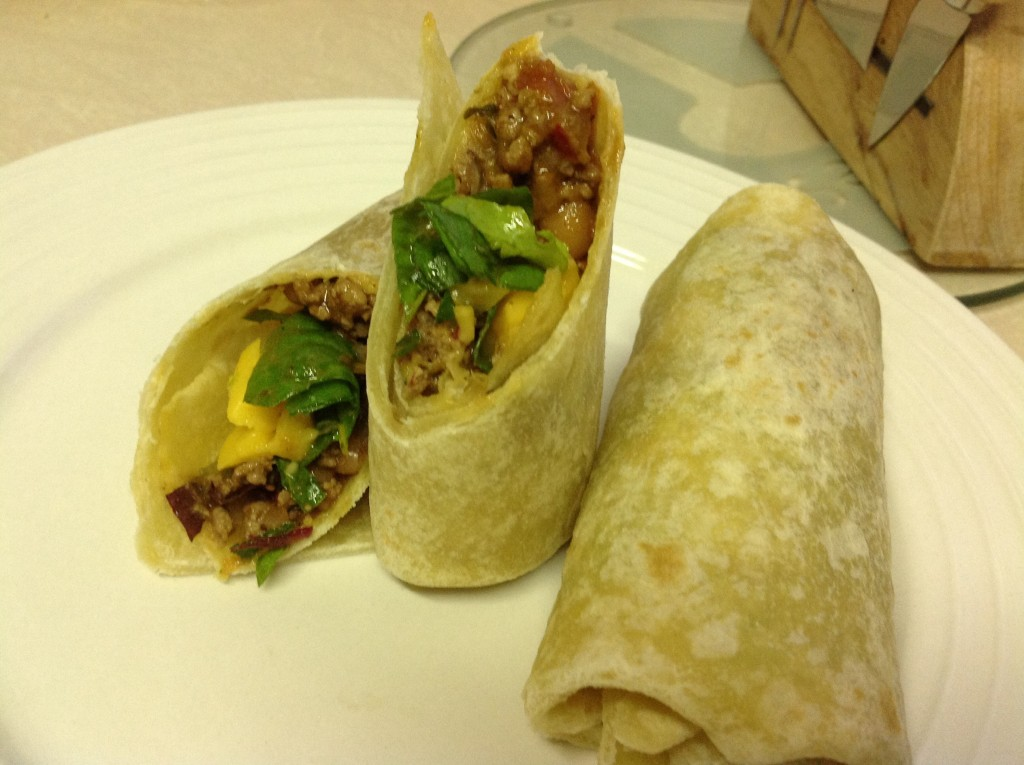 Easy homemade burrito wrap, done and ready to eat.