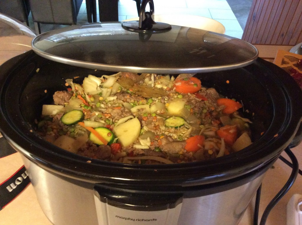 Double beef slow cooker stew